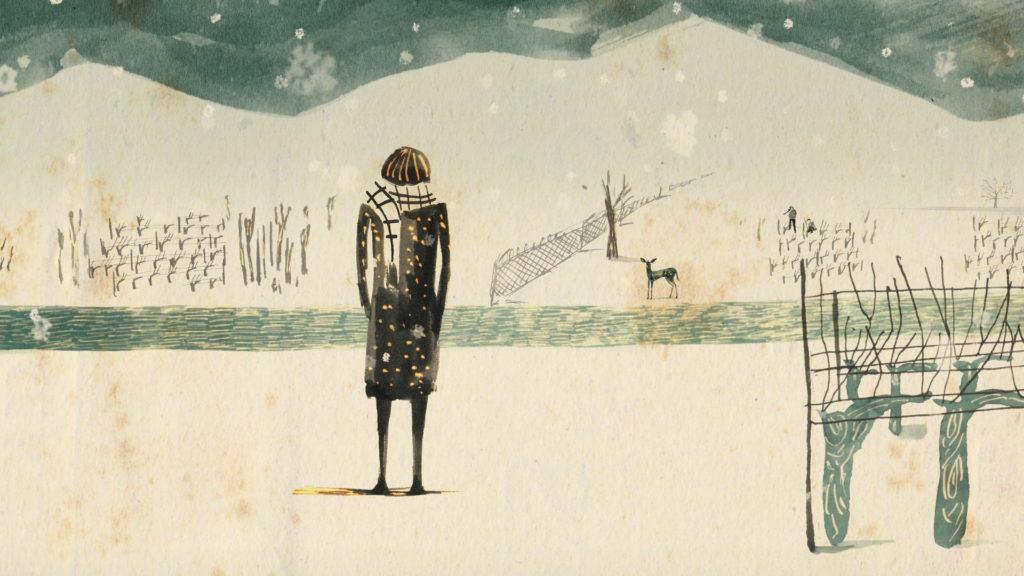 Un fotogramma dal corto di animazione Amore d'inverno
