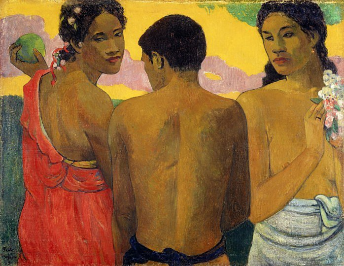 Three Tahitians, Paul Gauguin, (1899).