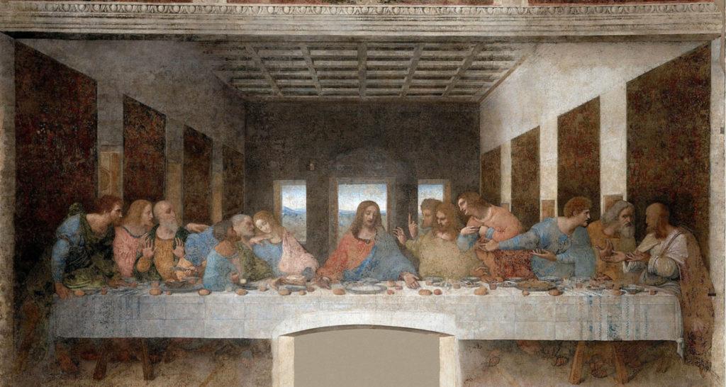 """Leonardo da Vinci, """"Ultima cena"""" - tempera grassa su intonaco - 460×880 cm - 1494/1498"""