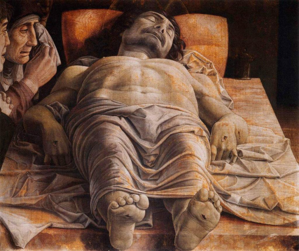 ANDREA MANTEGNA, Cristo morto, 68x81, tempera su tavola, 1470 ca., Milano, Pinacoteca di Brera