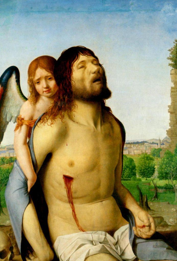 ANTONELLO DA MESSINA, Cristo in Pietà e un angelo, 74x51, olio su tavola, 1476-78, Madrid, Museo del Prado