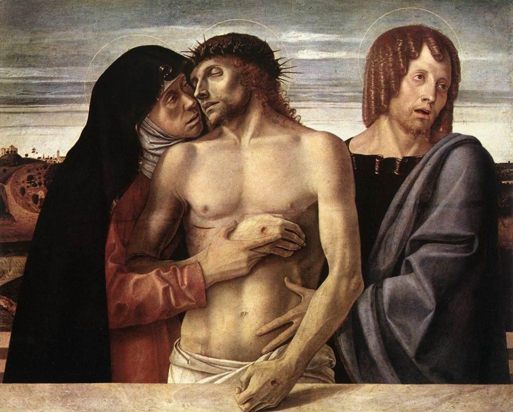GIOVANNI BELLINI, Pietà, 86x107, tempera su tavola, 1465-1470, Milano, Pinacoteca di Brera