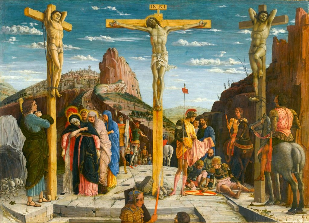 ANDREA MANTEGNA, Crocifissione (predella pala di San Zeno di Verona), 67x93, tempera su tavola, 1457-59, Parigi, Louvre