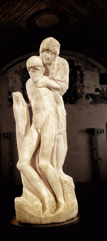 MICHELANGELO, Pietà Rondanini, h.195 cm, marmo, 1552-64, Milano, Castello Sforzesco