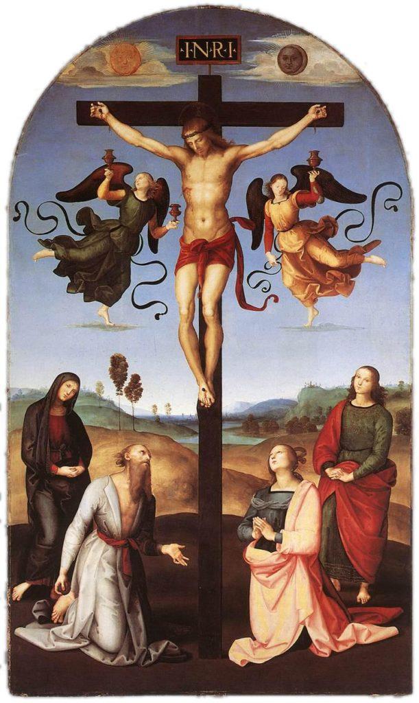 RAFFAELLO, Crocifissione Gavari, 279x166, olio su tavola, 1502-1503, Londra, National Gallery