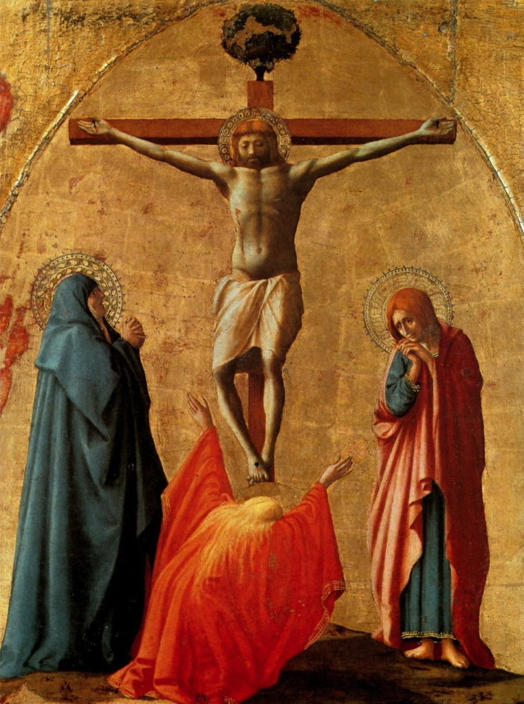 MASACCIO, Crocifissione (Polittico di S. Maria del Carmine di Pisa), 83x63, tempera su tavola, 1423, Napoli, Museo Nazionale di Capodimonte