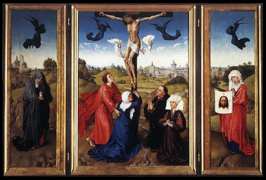 ROGIER VAN DER WEYDEN, Trittico della Crocifissione, 95,5x73 (tavola centrale), olio su tavola, 1440-45, Vienna, Kunsthistorisches Museum