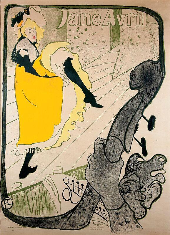 Jane Avril, Henri de Toulouse-Lautrec, 1893, litografia a colori, 61,7 x 80, 4 cm