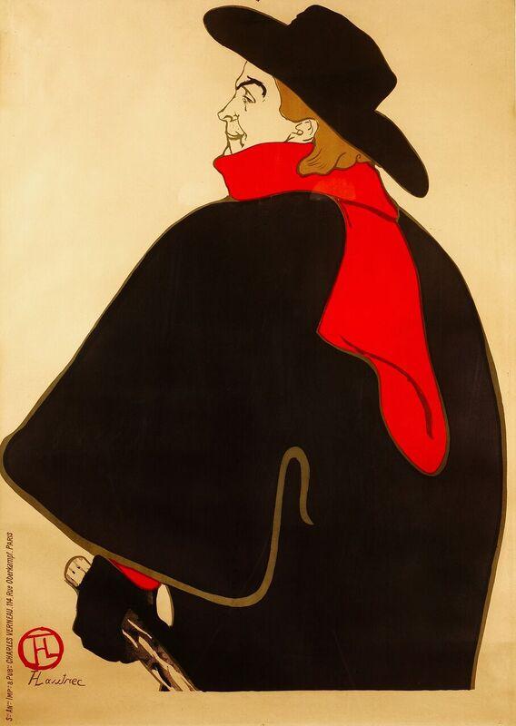 Aristide Bruant dans son Cabaret, Henri de Toulouse-Lautrec, 1893, litografia a colori, 127,3 x 95 cm